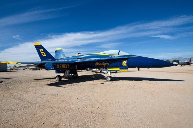 "F-18 of the US Navy ""Blue Angels"" flight demonstration squadron"